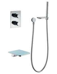 Flova Annecy Glass Thermostatic Valve With Diverter-Spout And Handset Kit