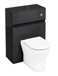 Britton Aqua Cabinets D300 Black BTW 600mm WC Unit With Push Button