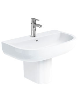 Britton Compact 650mm Basin With Round Semi Pedestal