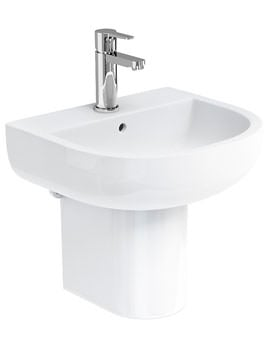 Britton Compact 45cm Wash Basin And Round Semi Pedestal