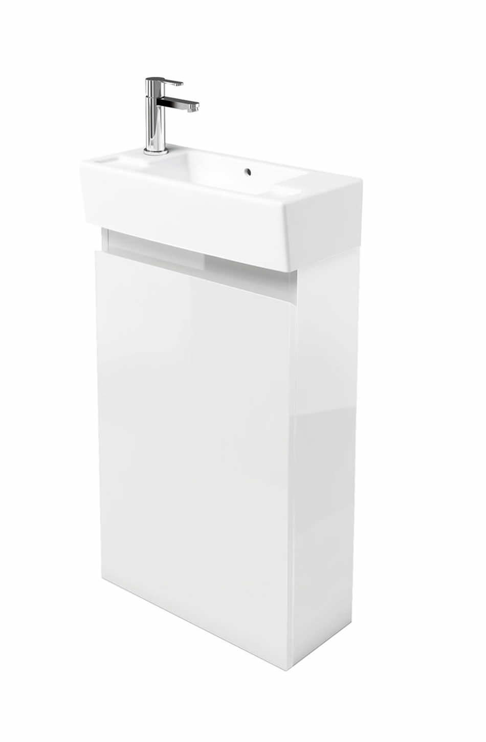 Britton narrow floor mounted white unit with lh cloakroom basin - Narrow cloakroom basin ...