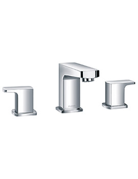 Flova Dekka Deck Mounted 3 Hole Basin Mixer Tap With Clicker Waste