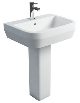 Britton Curve S30 Wash Basin 60cm And Square Full Pedestal