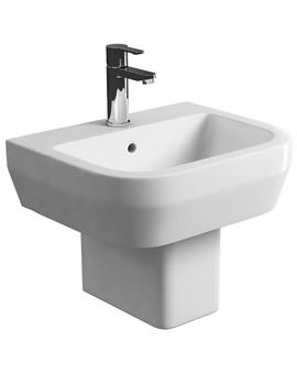 Britton Curve S30 50cm Wash Basin And Square Semi Pedestal