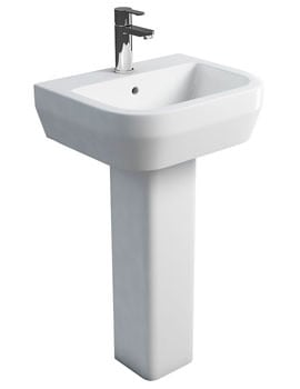 Britton Curve S30 Wash Basin 50cm And Square Full Pedestal