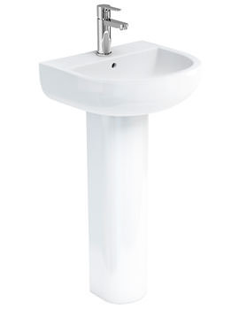 Britton Compact 450mm Washbasin With Round Full Pedestal