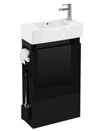 Britton All-in-One Floor Standing Black Unit And RH Cloakroom Basin