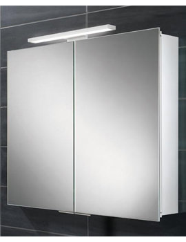 HIB Neutron 600 x 700-730mm Double Door LED Overlight Mirror Cabinet