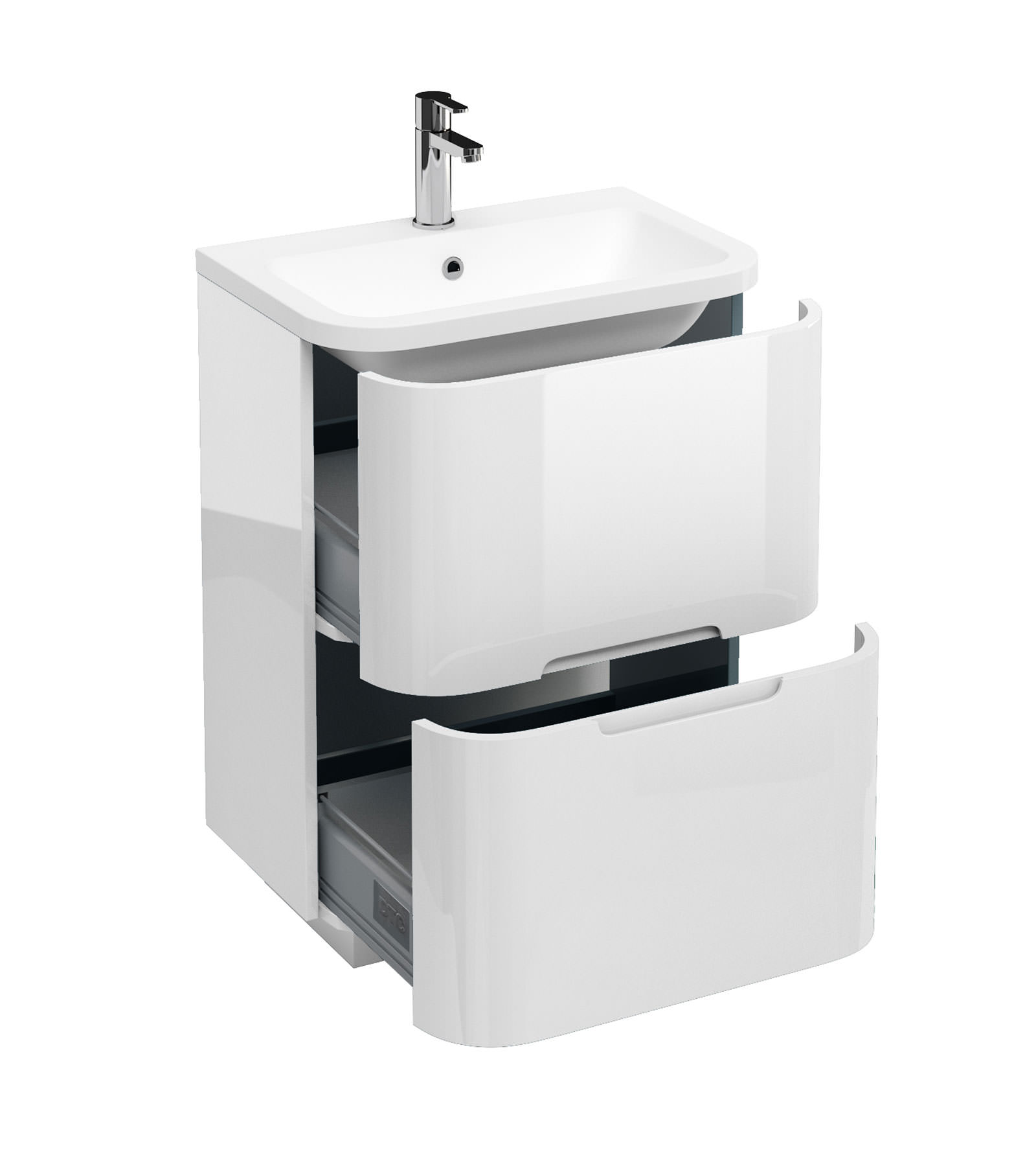 Aqua cabinets compact 600mm white 2 drawer floor unit with for Bathroom cabinets 40cm wide