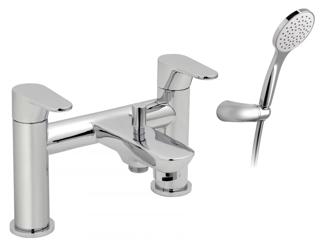 Vado Ascent Deck Mounted 2 Hole Bath Shower Mixer Tap With Kit