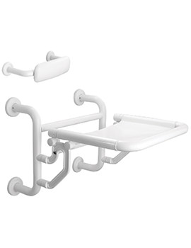 Twyford Avalon White Folding Shower Seat With Back Support Doc.M Compliant
