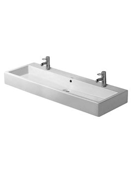 Duravit Vero White 1200 x 470mm 2 Tap Hole Washbasin