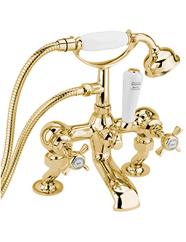 Sagittarius Churchmans Deluxe Deck Bath Shower Mixer Tap With Kit Gold