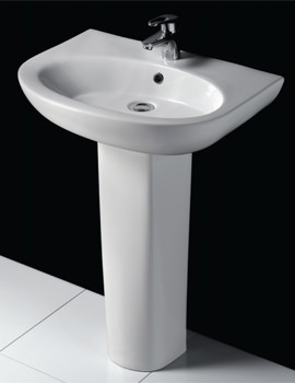 RAK Infinity 600mm 1 Tap Hole Basin And Full Pedestal