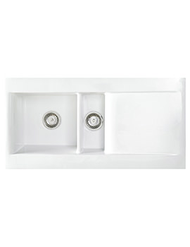 Astracast Liscio Gloss White Ceramic Inset Sink - 1.5 Bowl