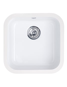 Astracast Lincoln 4040 Gloss White Ceramic Undermount Sink - Main Bowl