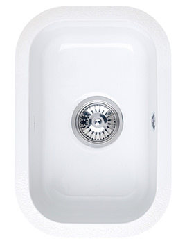 Astracast Lincoln 2540 Gloss White Ceramic Undermount Sink - 0.5 Bowl