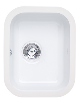 Astracast Lincoln 3040 Gloss White Ceramic Undermount Sink - Main Bowl