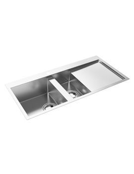 Abode Metrik 1.5 Bowl Stainless Steel Kitchen Sink And Right Hand Drainer