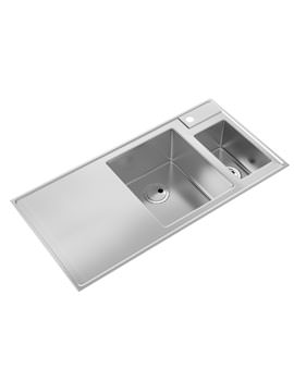 Abode Therom 1.5 Bowl Stainless Steel Kitchen Sink And Offset RH Drainer