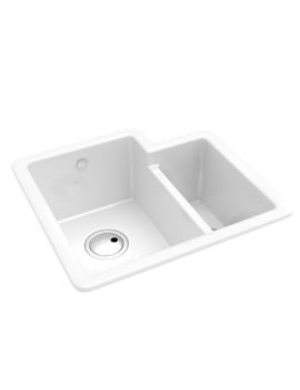 Abode Matrix CR25 1.5 Bowl White Ceramic Left Hand Kitchen Sink