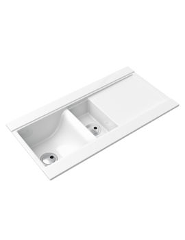 Abode Tydal 1.5 Bowl Reversible White Ceramic Inset Sink And Drainer