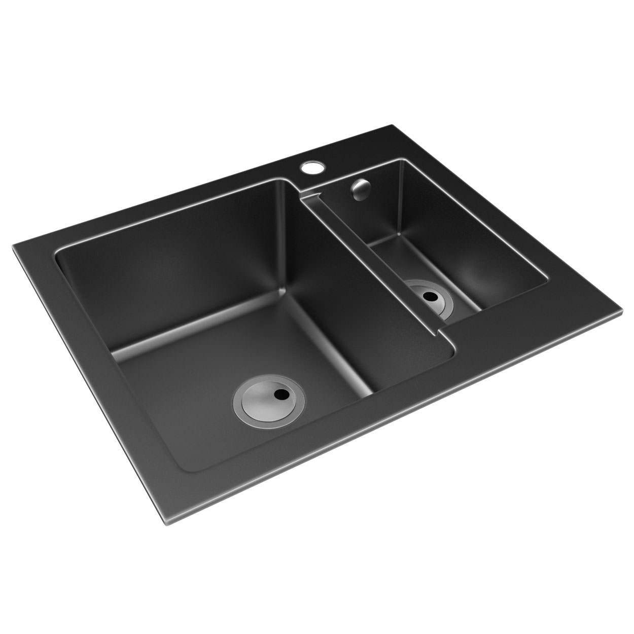 Abode Zero 1 5 Bowl Black Granite Reversible Inset Kitchen