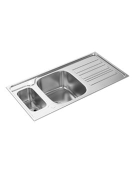 Abode Kyte 1.5 Bowl Reversible Stainless Steel Kitchen Sink With Drainer