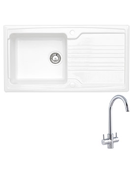 Astracast Equinox White Ceramic Inset Sink And Tap Pack - 1.0 Bowl