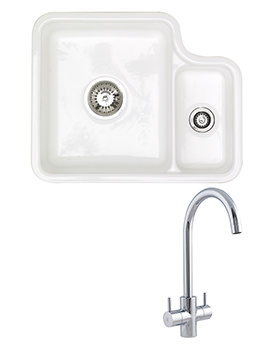 Astracast Lincoln White Ceramic Undermount Sink And Tap Pack - 1.5 Bowl