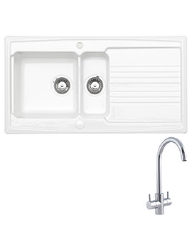 Astracast Equinox White Ceramic Inset Sink And Tap Pack - 1.5 Bowl