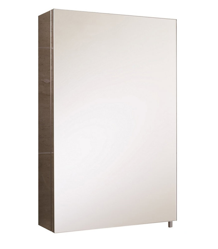 Rak cube stainless steel single door mirror cabinet 400 x for Bathroom cabinets 40cm wide