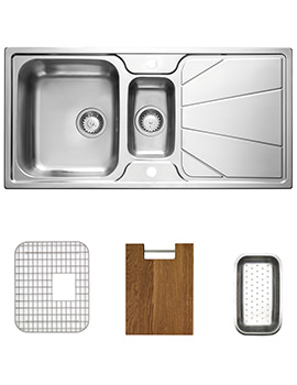 Astracast Korona Stainless Steel Inset Sink And Accessories - 1.5 Bowl