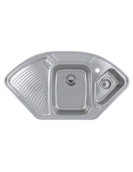 Astracast Lausanne Polished Stainless Steel Corner Inset Sink - 1.5 Bowl