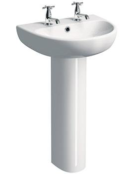 Twyford E100 Round 2 Tap Hole 600 x 480mm Washbasin With Full Pedestal