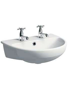 Twyford E100 Round 2 Tap Hole 550 x 440mm Semi-Recessed Basin