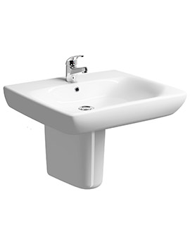 Twyford E100 Square 650 x 550mm Less Abled Washbasin With Semi Pedestal