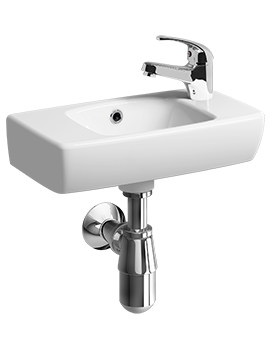 Twyford E100 Square Single Right Hand Tap Hole 450 x 250mm Handrinse Washbasin