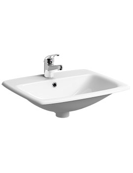 Twyford E100 Square 1 Centre Tap Hole 550 x 450mm Basin Sink