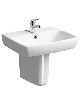 Twyford E100 Square 1 Tap Hole 500 x 420mm Washbasin With Semi Pedestal