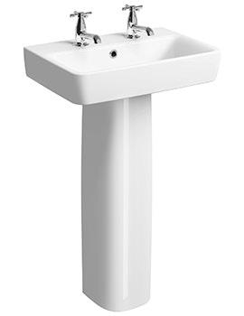 Twyford E200 2 Tap Hole 550 x 370mm Washbasin With Full Pedestal
