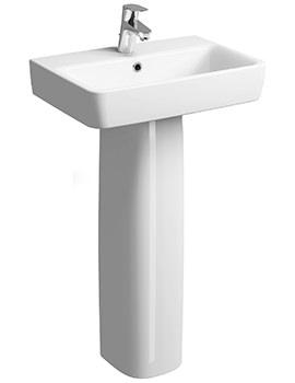 Twyford E200 1 Tap Hole 550 x 370mm Washbasin With Full Pedestal