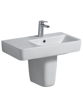 Twyford E200 650 x 370mm Left Hand Shelf Washbasin With Semi Pedestal