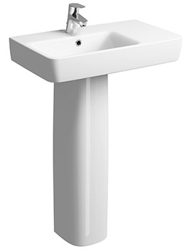 Twyford E200 650 x 370mm Right Hand Shelf Washbasin With Full Pedestal