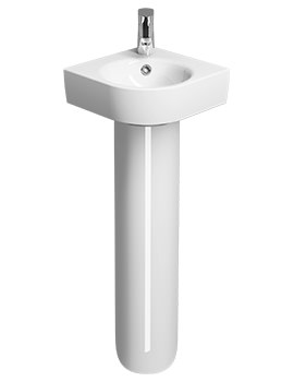 Twyford E200 1 TH 320 x 320mm Corner Handrinse Basin With Full Pedestal