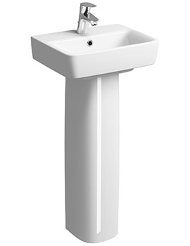 Twyford E200 1 Tap Hole 450 x 340mm Handrinse Basin With Full Pedestal