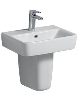 Twyford E200 1 Tap Hole 450 x 340mm Handrinse Basin With Semi Pedestal