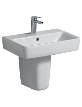 Twyford E200 1 Tap Hole 550 x 370mm Washbasin With Semi Pedestal