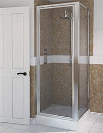 Aqualux Aqua 4 760 x 760mm Pivot Door And Side Panel - Polished Silver
