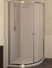 Aqualux Aqua 4 800 x 800mm Quadrant Shower Enclosure - Polished Silver
